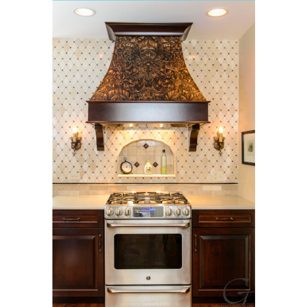 Italian Renaissance RD1952FR - Cooker hood featuring Lincrusta in an aged metal effect becomes focal point of the whole home